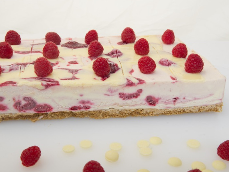 White Chocolate Raspberry Cheesecake Slab